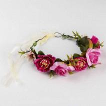 זר פרחי משי ורדים פוקסיה