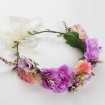 זר פרחי משי דליה סגולה
