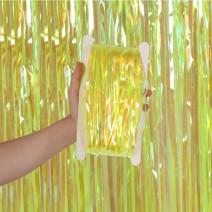 וילון פרנזים צהוב ססגוני