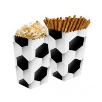 קופסאות פופקורן כדורגל שחור לבן