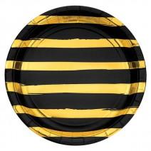 צלחות גדולות פסים שחור זהב