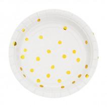 צלחות קטנות לבן נקודות זהב