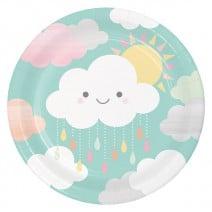 צלחות גדולות עננים וטיפות