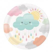 צלחות קטנות עננים וטיפות