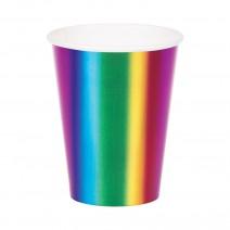 כוסות נייר מסיבת קשת מטאלית