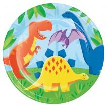 צלחות גדולות מסיבת דינוזאורים