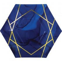 צלחות משושה כחול זהב