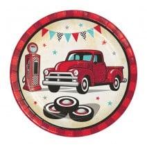 צלחות קטנות האוטו האדום