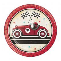 צלחות קטנות מכונית מרוץ וינטאג'ית