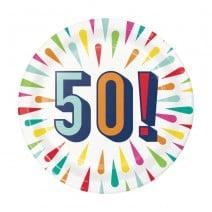 צלחות קטנות Birthday Burst - 50