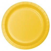 """24 צלחות נייר """"9 - צהוב"""