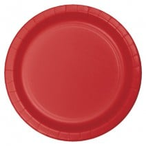 """24 צלחות נייר """"9 - אדום"""