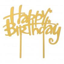 טופר מראה Happy Birthday זהב