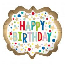 בלון מיילר מסגרת זהב Happy Birthday