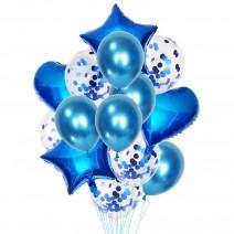 זר בלונים כוכבים ולבבות כחול
