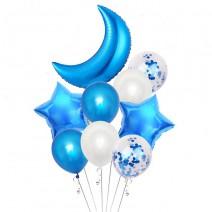זר בלונים עד הירח כחול לבן