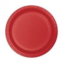 """24 צלחות נייר """"7 - אדום"""