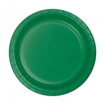 """24 צלחות נייר """"7 - ירוק דשא"""