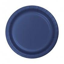 """24 צלחות נייר """"7 - כחול נייבי"""