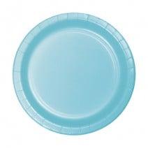 """24 צלחות נייר """"7 - כחול פסטל"""