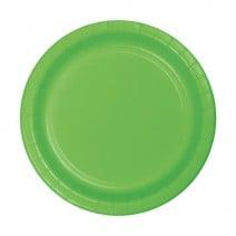 """24 צלחות נייר """"7 - ירוק ליים"""