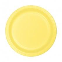 """24 צלחות נייר """"7 - צהוב לימון"""