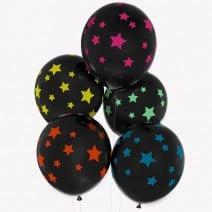 בלונים שחורים כוכבים צבעוניים