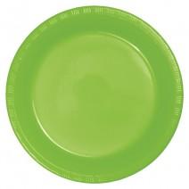"""25 צלחות פלסטיק """"9- ירוק ליים"""