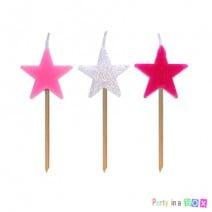 נרות כוכבים - ורוד