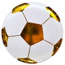 צלחות גדולות כדורגל לבן זהב