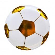 צלחות קטנות כדורגל לבן זהב