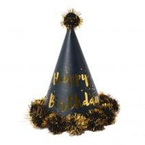 כובע יומולדת שחור עם פונפון