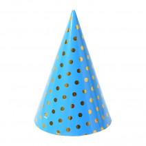 כובעי מסיבה תכלת נקודות זהב