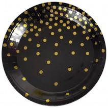 צלחות גדולות שחור נקודות זהב
