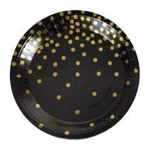 צלחות קטנות שחור נקודות זהב