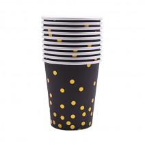 כוסות שחור נקודות זהב