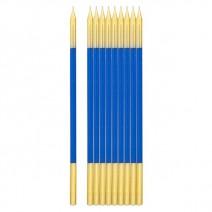 נרות ארוכים כחול זהב