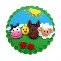 קישוט עגול לעוגה - חוות חיות