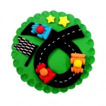 קישוט עגול לעוגה - מרוץ מכוניות