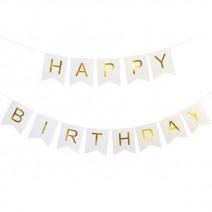 שרשרת Happy Birthday לבן זהב