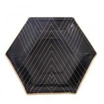 צלחות קטנות משושה שחור זהב