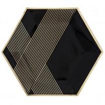 צלחות גדולות משושה שחור זהב