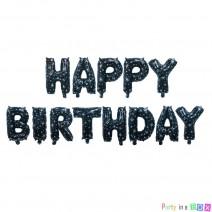 בלוני Happy Birthday שחור כוכבים
