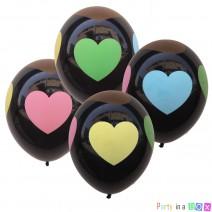 בלונים שחורים לבבות צבעוניים