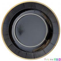 צלחות גדולות קלאסיק שחור זהב