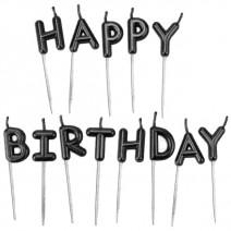 נרות Happy Birthday שחור