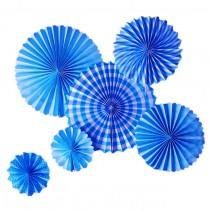 סט מניפות נייר מיקס כחול
