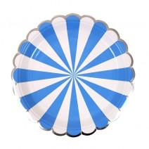 צלחות קטנות מניפה כחול לבן