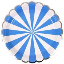 צלחות גדולות מניפה כחול לבן