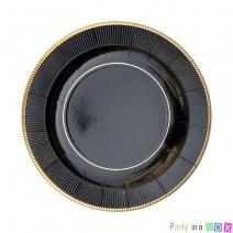 צלחות קטנות קלאסיק שחור זהב